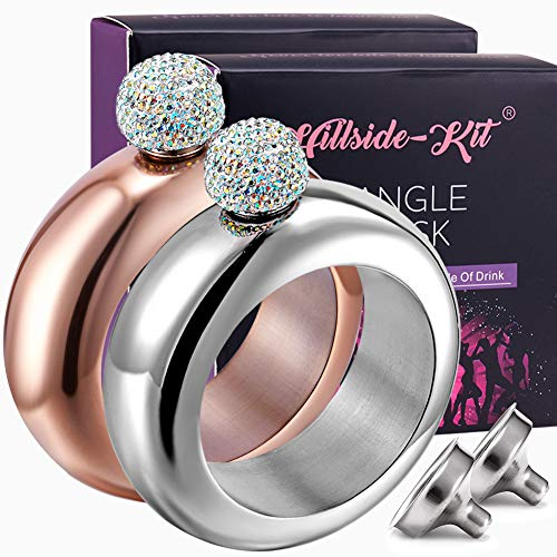 Booze Shot Flask Bangle Bracelet- AB Crystal Lid Creative 304 Stainless Steel Wine Alcohol Liquor Flask bracelet for Women Girls Party Hidden Flask Set 3.5OZ -2PCS (Silver with Gold)