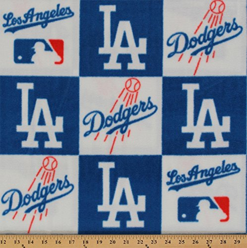 (Fleece Los Angeles Dodgers MLB Baseball Sports Fleece Fabric Print by The Yard s6691bf)
