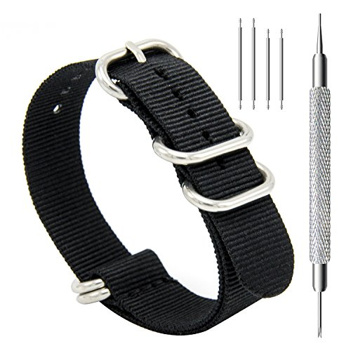 CIVO Heavy Duty G10 Zulu Military Watch Bands NATO Premium Ballistic Nylon Watch Strap 5 White Rings with Stainless Steel Buckle 20mm 22mm 24mm ... (black, 22mm)