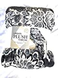 Life Comfort Urban Plush Throw (dark gray ,paisly ), 60'x70' - NEW