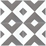 Rustico Tile and Stone RTS7 Diamond Geometric Pattern Cement Tile Pack of 13, 8x8, Gray and White