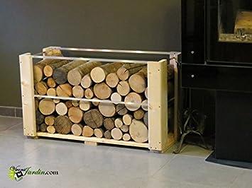 Range porte bois horizontal - bucher intérieur cheminé - Pour bûches ...