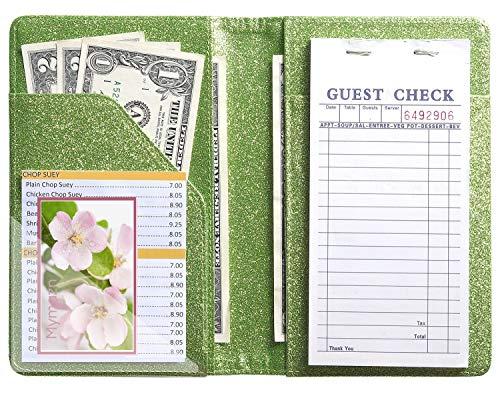 Server Book for Waitress Waiter Book Bling Waitstaff Organizer Fit Apron (Glitter Green)