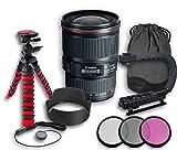 Canon EF 16-35mm f/4L IS USM Lens + Original Canon Lens Hood EW-82 + Original Canon Lens Bag + 3 PC Filter Kit + Tripod + Scorpion Grip + Cap Keeper