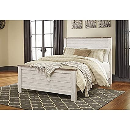 Amazon.com: Ashley Willowton Queen Panel Bed in Whitewash: Kitchen ...
