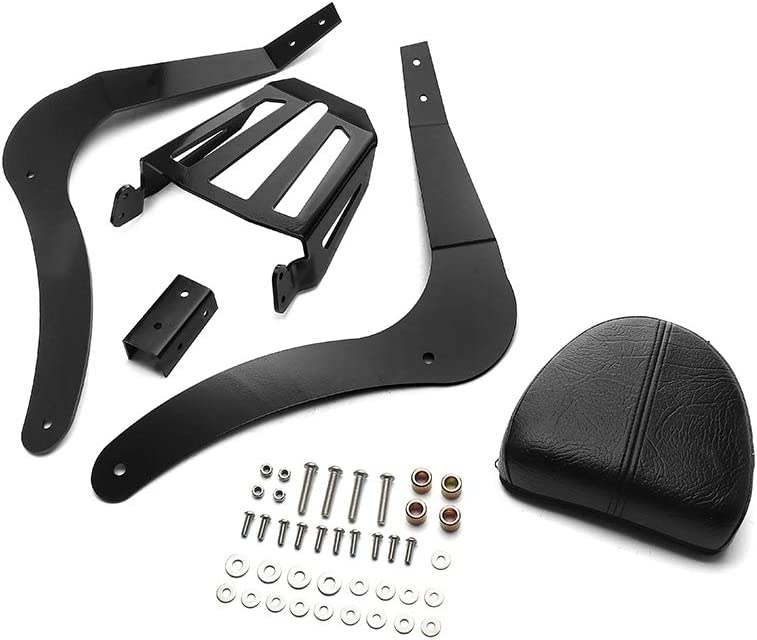 MotorFansClub Passenger Back Seat Cushion Backrest Sissy Bar Luggage Rear Rack Fit For Compatible With Indian Scout Sixty Scout 2014 2015 2016 2017 2018 2019 2020 Black