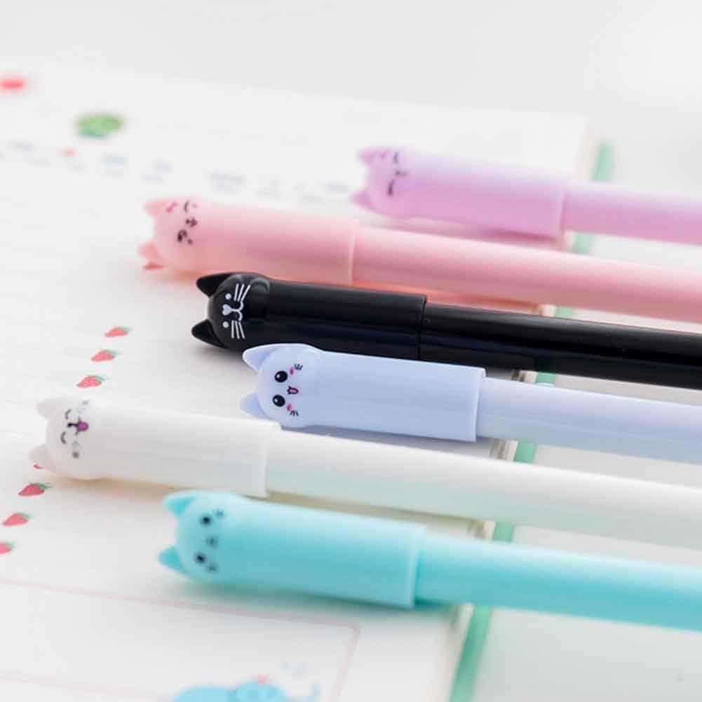 Cat Gel Pens Novelty Kids School Office Gift Cartoon Xmas Toys Z1H3 B4W5