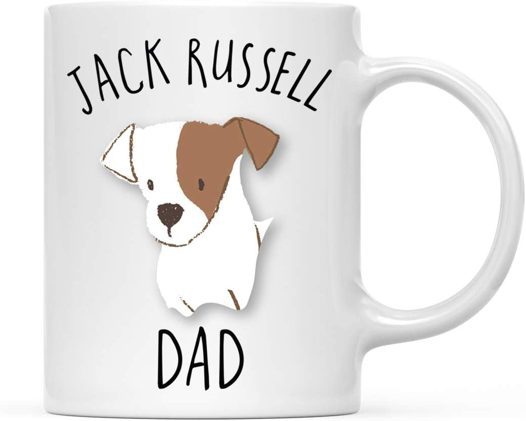 Amazon Com Andaz Press Funny Dog 11oz Coffee Mug Gift White And Tan Brown Jack Russell Dog Dad 1 Pack Novelty Birthday Christmas Cup Gifts Ideas For Dog Lovers Kitchen Dining