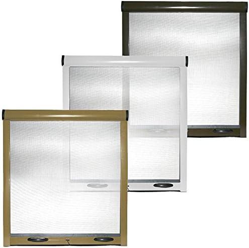 100/x 170/cm Cilvani blanca y marr/ón Mosquitera enrollable con estructura de aluminio para ventanas y puertas