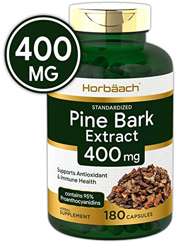 Horbaach Pine Bark Extract 400 mg | 180 Capsules | Max Potency | Standardized to Contain 95% Proanthocyanidins | Non-GMO, Gluten Free Supplement (Pycnogenol 100 Mg Best Price)