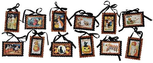PBK Halloween Decor - Vintage Theme Postcard Ornaments 12pc Set (Vintage Halloween Postcards)