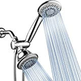 HotelSpa High-Pressure 7-Setting Handheld Shower Head with 4-inch Face, Patented Water-Saving ON/OFF Pause Switch, Angle-Adjustable, Easy Tool-Free Installation – Chrome Finish