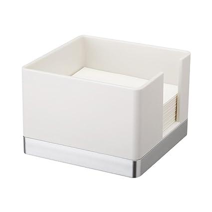 BESTOMZ Portapapeles de plástico Titular Simple Elegante Notas Adhesivas Dispensador de Notas de Escritorio (Blanco