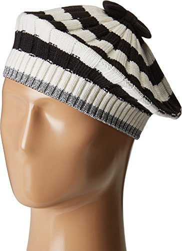 Kate Spade New York Womens Bold Stripe with Metallic Tipping Beret Cream/Black/Antique Silver One Size One Size