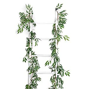 Felice Arts 2pcs 11.2 Feet Artificial Willow Leaves Vines Twigs Fake Silk Greenery Garland for Indoor Outdoor Wedding Decor Jungle Party 1