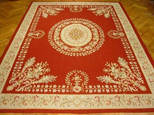 9x12 Red Aubusson wool Open Field Fascinating Handmade rug ()