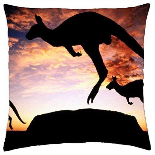 Kangaroo's at sunset Uluru National Park NT Australia - Throw Pillow Cover Case (18