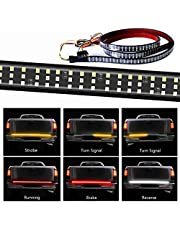 432LEDS Triple Row Tailgate Light Bar, 60 Inch Tail Strip Light Bar for Trucks Pickup Trailer SUV RV VAN, with 4-Way Flat Connector Wire - Red Brake White Reverse Amber Turn Signal Strobe Light