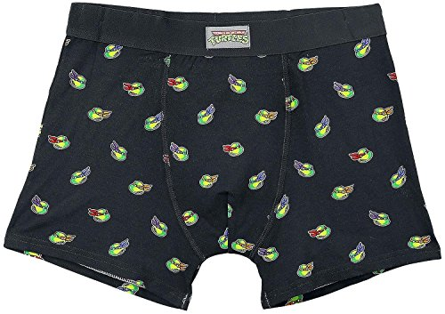 [Teenage Mutant Ninja Turtles All-Over Face Pattern Men's Boxershorts | M | Black] (Mens Costume Patterns Uk)