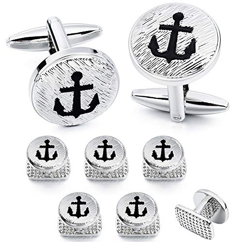 HAWSON Anchor Men Cufflinks and Studs Set - 2 Pcs Cufflinks with 6 Pieces Studs in Gift Box