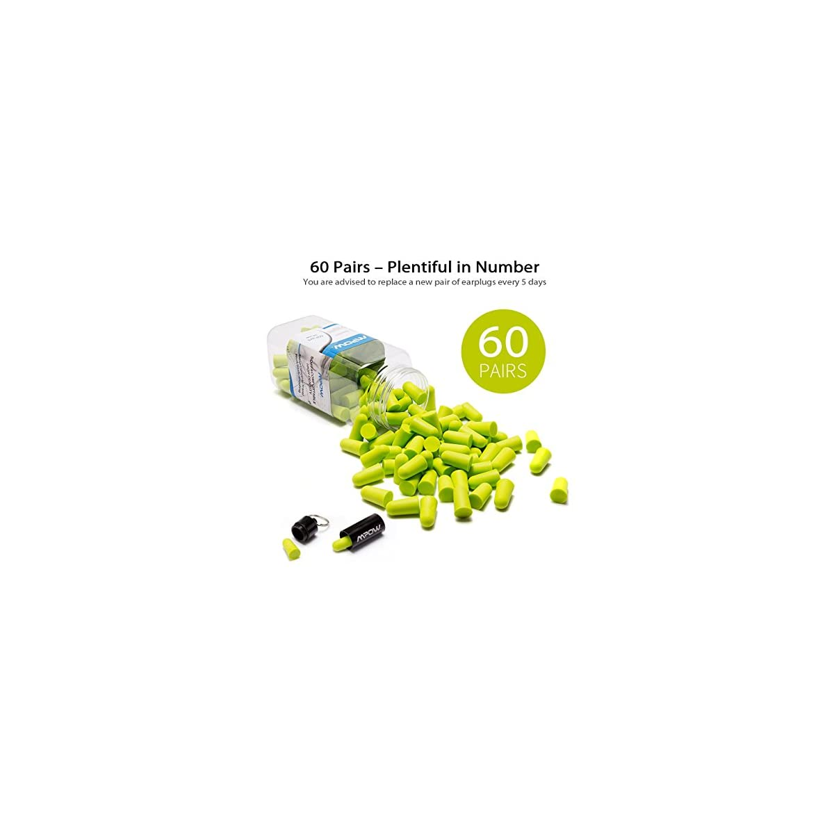 Soft PU Foam Noise Cancelling Earplug 10 Pairs Earplugs for Sleeping Memory Foam Ear Buds Lightweight with Free Carry Case for Men