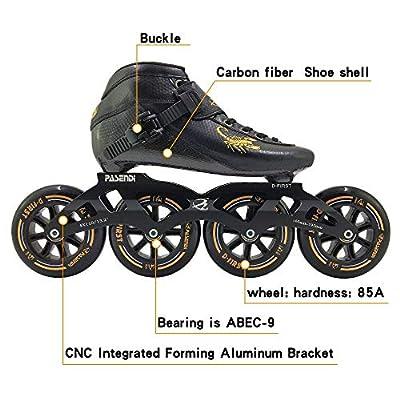 PASENDI Professional Carbon Fiber Speed Skates Adult Men's and Women's Skates 4-Wheels Single-Row Roller Skates Shoes Black Inline Skate Shoes : Sports & Outdoors