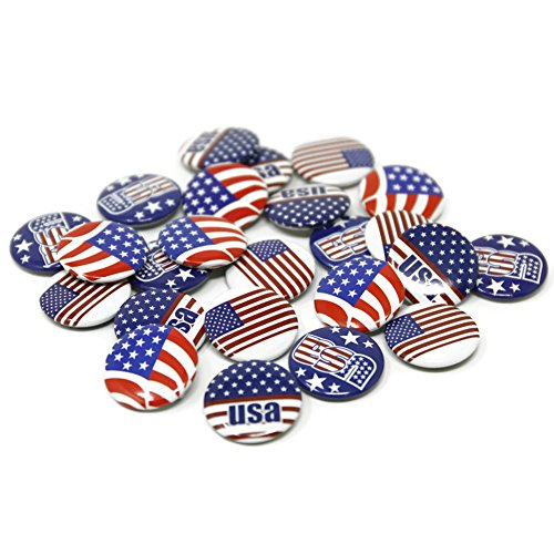 USA Patriotic Buttons - Pack of 24