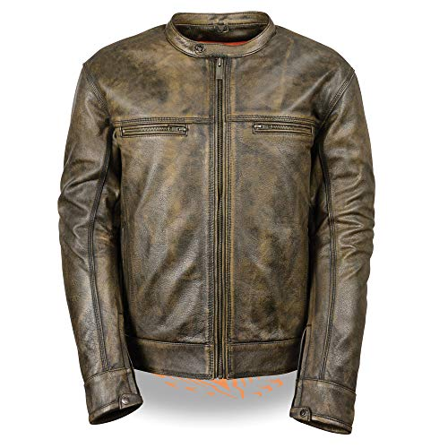 Men's Distressed Brown Leather Scooter Jacket w/ Triple Stitch Detailing Motorcycle Jacket (Large)