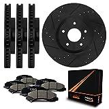 Front + Rear [ELITE SERIES] Black Anti-Rust Slotted & Drilled Rotors and Ceramic Pads Brake Kit KT083583 | Fits: 2010 10 2011 11 2012 12 Hyundai Santa Fe