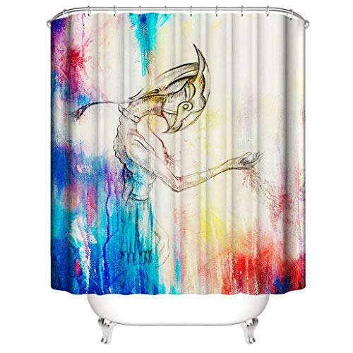 Jessie storee Shower Curtain Sand Painting 3D Printed Waterproof Bathroom Curtain Fabric Polyester Colorful Fairy Curtain with 12 Hooks for Kids Adults, 72 x 72 inch