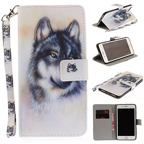 iPhone 6/6S Plus Case,iPhone 6/6S Plus Wallet Case,Bat King Lone Wolf [Kickstand Flip][Credit Cards Slot][Cash Pockets][Slim Fit] Premium Leather Flip Wallet Case for iPhone 6/6S - Wolf Bat