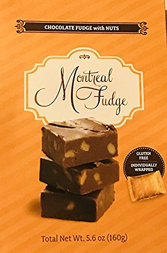 Authentic GLUTEN-FREE Montreal Fudge - Gourmet Nantel 5.6 oz Box (Chocolate Fudge with Nuts) Montreal Chocolate