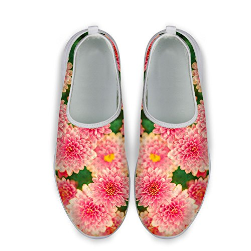 FOR U DESIGNS Stylish Casual Floral Pattern Mesh Comfortable Womens Walking Running Shoes Pink B qVC6zl