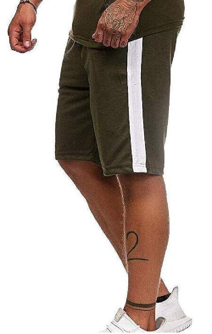 SHOWNO Mens Beach Contrast Drawstring Elastic Waist Casual Gym Trainning Shorts Sweatpants