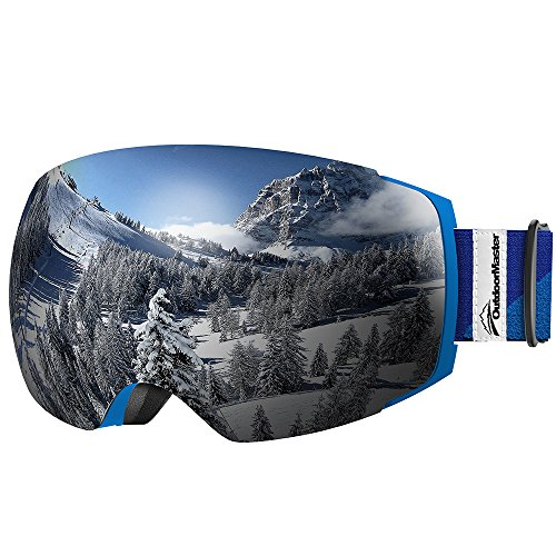 OutdoorMaster Ski Goggles PRO - Frameless, Interchangeable Lens Snow Goggles for Men & Women - 100% UV Protection ( Blue Frame VLT 8% Grey Len with REVO Silver and Free Protective Case ) (Flight Deck Helmet)