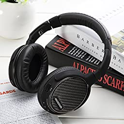 AUSDOM Bluetooth 4.0 Headphones Over-ear Stereo APTX Wireless Wired Headsets Sealed 3D Surround Sound Deep Bass High Fidelity Headphone with Noise Canceling Microphone for Music Hi-fi Skype Earphone