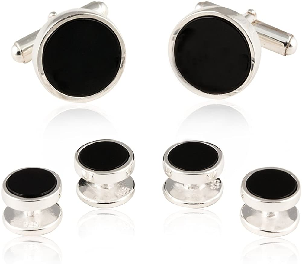 Mens Solid 925 Sterling Silver Black Onyx Cufflinks and Studs Formal Set with Presentation Box
