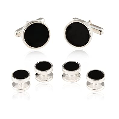 9e0e6fa3 Amazon.com: Mens Solid 925 Sterling Silver Black Onyx Cufflinks and Studs  Formal Set with Presentation Box: Jewelry