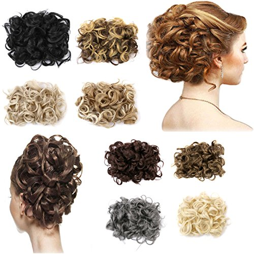 (FIRSTLIKE Short Messy Curly Dish Hair Bun Extension Easy Stretch hair Combs Clip in Ponytail Extension Scrunchie Chignon Tray Ponytail Hair piece Wig Hairpieces)