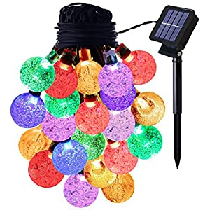 Bulbright Solar String Lights Fairy Lights 20Ft 30 LED Crystal Ball String Lights Starry Lights Globe String Lights for…