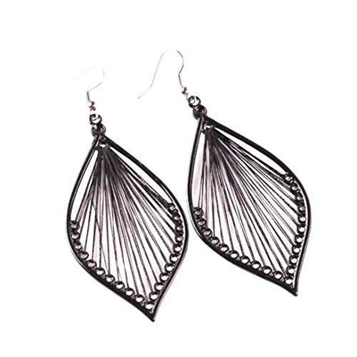 BSGSH Womens Classic Leaf Hook Drop Danlge Earrings Bohemia Jewelry for Women Girls (Black) (Leaf Twist Drop)