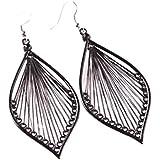 1Pair Fashion Women Alloy Leaf Stud Dangle Earings Eardrop Jewelry New (Black)