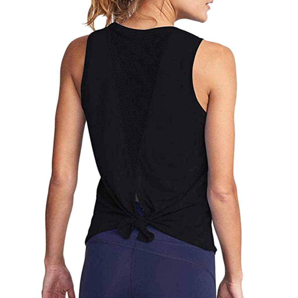 Mlide Women Cute Yoga Workout Mesh Shirts Activewear Sexy Open Back Sports Tank Tops Black