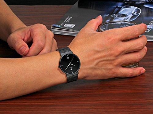 Tamlee Men Black Plated Slim Case Stainless Steel Waterproof Watch with Mesh Band (Black)