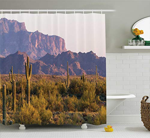 "Ambesonne Saguaro Shower Curtain, Arizona Desert Landscape with Cactus Mountain in Spring Evening Wilderness Picture, Cloth Fabric Bathroom Decor Set with Hooks, 70"" Long, Brown Green"