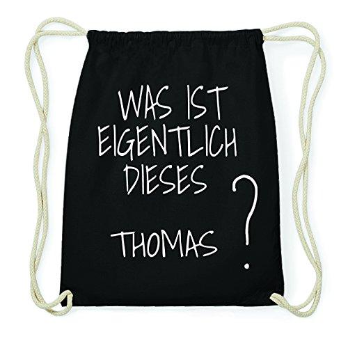 JOllify THOMAS Hipster Turnbeutel Tasche Rucksack aus Baumwolle - Farbe: schwarz Design: Was ist eigentlich