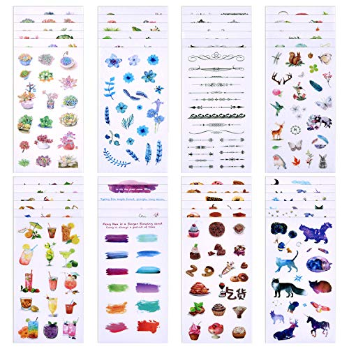 (Coopay 48 Sheets Journal Decorative Sticker Collection Valuable Set (48 Designs) Plant Flower Fish Food Drink Colourful Theme for Scrapbooking, Calendars, Arts, Kids DIY Crafts, Album, Bullet Journals)