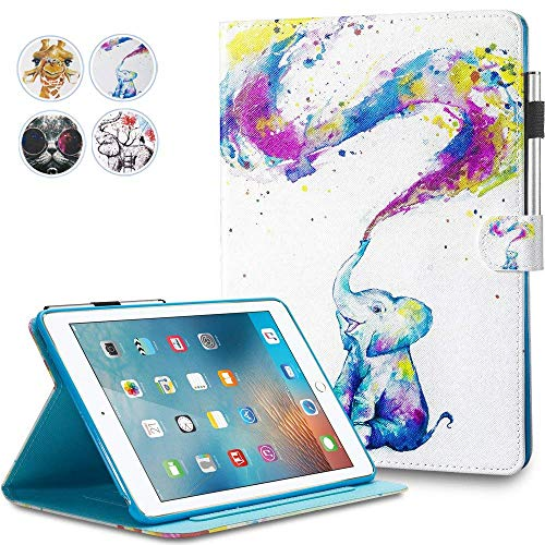 iPad Mini Case,Mini 2 3 4 Case MonsDirect Leather Smart Kickstand Case Cover Colorful Flip Wallet Protective Case Compatible with Apple iPad Mini 1 2 3 4, Baby Elephant