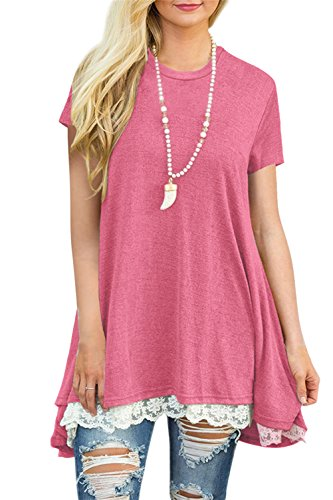 FERYSHE Womens Lace Hem Short Sleeve Flowy Tunic Shirt Long Tee Shirt S Pink