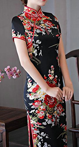 Long Slim Black Print Vintage Chinese Women's Dress Cheongsam Cromoncent Evening wf1q0tZxwH